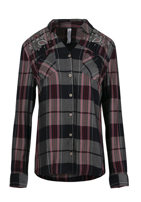 Ladies' Embroidered Plaid Shirt