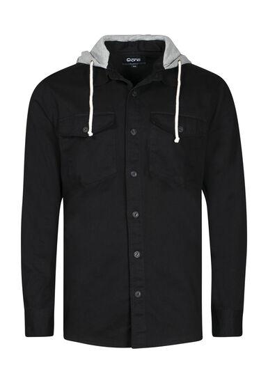 Men's Canvas Work Shirt, BLACK, hi-res