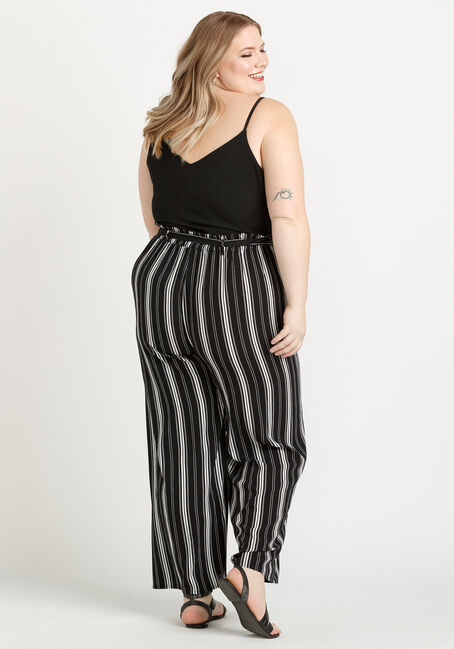 Women's Striped Paperbag Waist Jumpsuit, BLK/WHT, hi-res