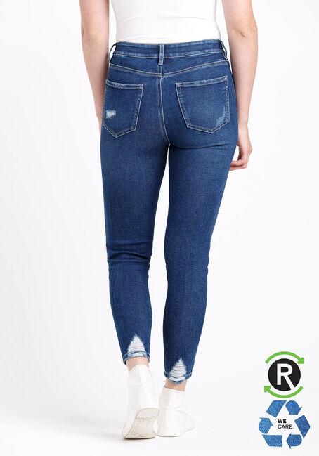 Women's High Rise Chewed Hem Ankle Skinny Jeans, DARK WASH, hi-res