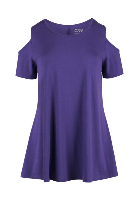 Ladies' Cold Shoulder Tee, PURPLE, hi-res