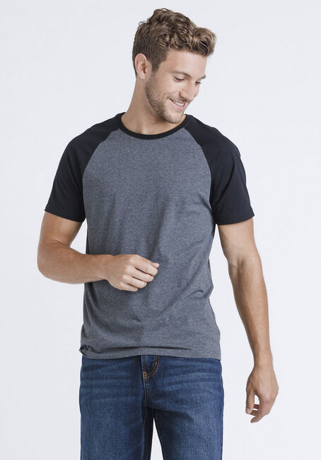 Men's Everyday Raglan Tee, BLACK, hi-res