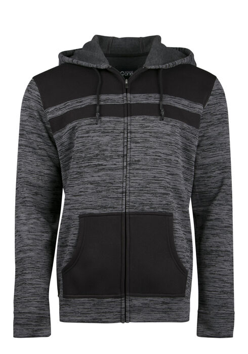 Men's Colour Block Stripe Hoodie, CHARCOAL, hi-res
