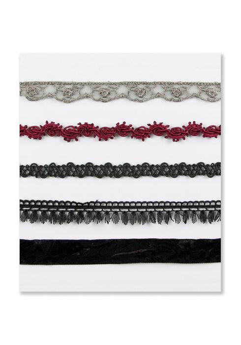 Ladies' 5 Pair Choker Necklace Set, BLACK, hi-res