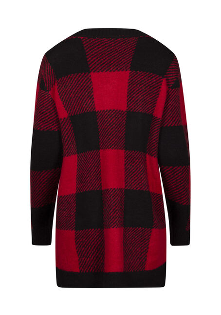 Women's Buffalo Check Open Cardigan, RED, hi-res