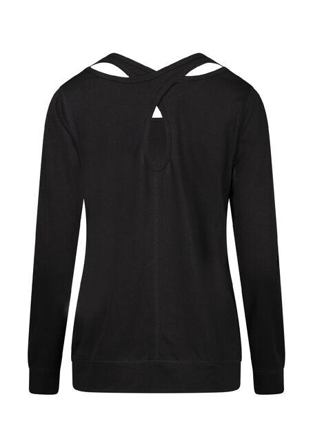 Women's Keyhole Back Fleece, BLACK, hi-res
