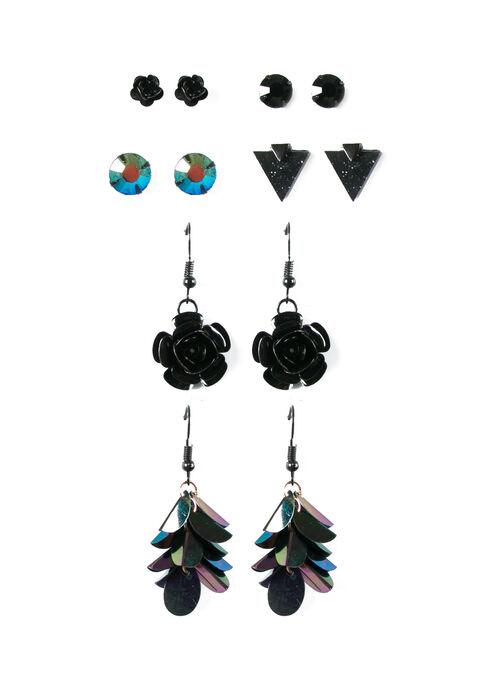 Women's 6 Pair Earring Set, BLACK, hi-res