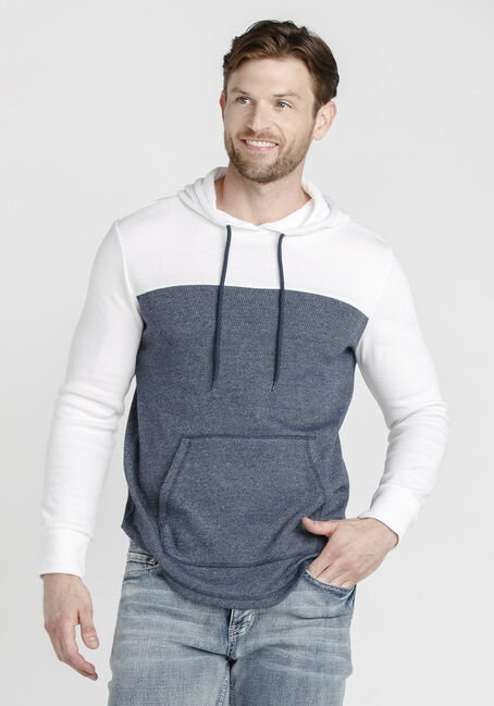 Men's Colour Block Waffle Hoodie, WHITE, hi-res