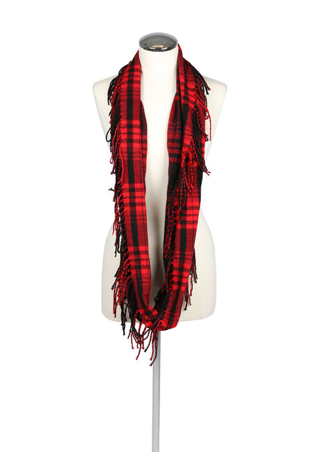 Ladies' Plaid Infinity Scarf, RED, hi-res