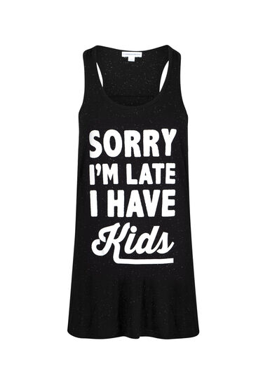 Womens' Sorry I'm Late Ruched Tank, BLACK, hi-res
