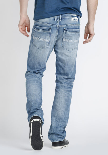 Men's Marble Wash Relaxed Straight Jeans, MEDIUM WASH, hi-res