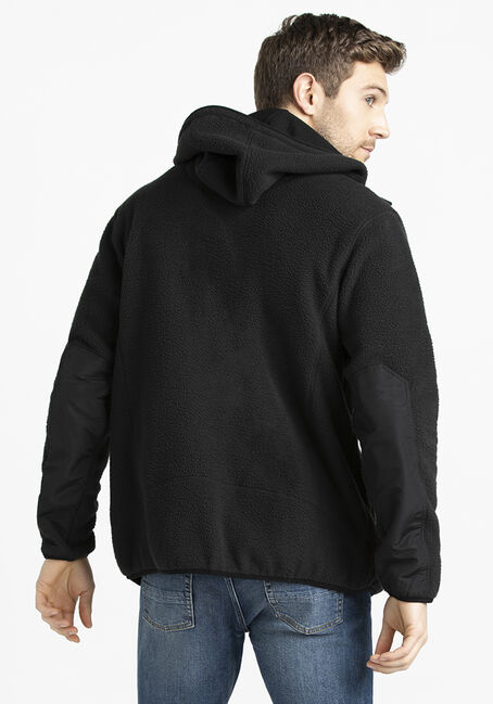 Men's Zip Front Polar Fleece, BLACK, hi-res