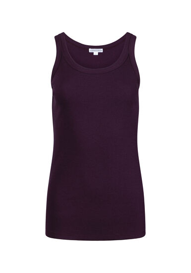 Women's Rib Knit Tank Top, PLUM, hi-res