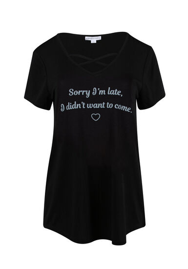 Women's Sorry I'm Late Cross Neck Tee, BLACK, hi-res