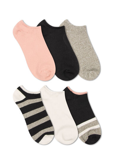 Women's 6 Pair Stripes Socks, BLACK, hi-res