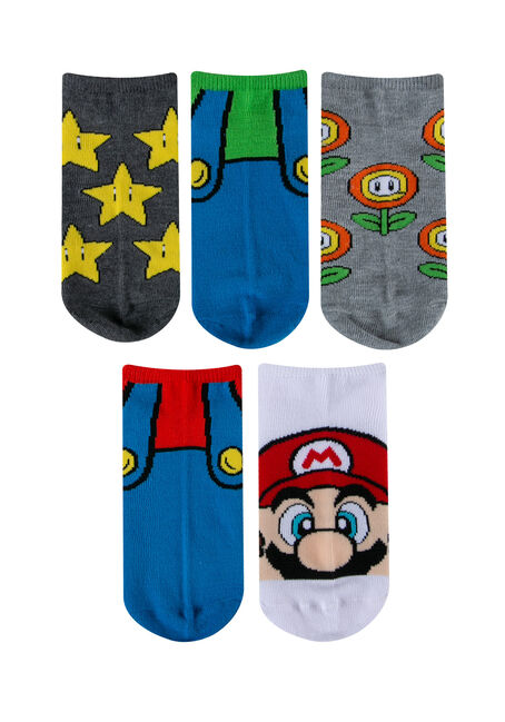 Women's 5 Pair Super Mario Socks, MULTI, hi-res