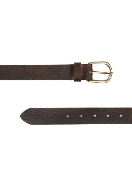 Ladies' Basic Leather Belt, BROWN, hi-res