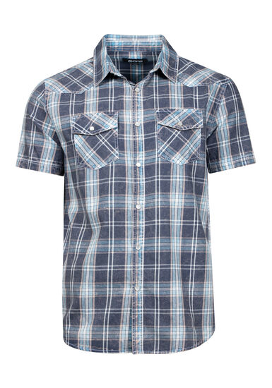 Men's Acid Wash Plaid Relaxed Fit Shirt, NAVY, hi-res