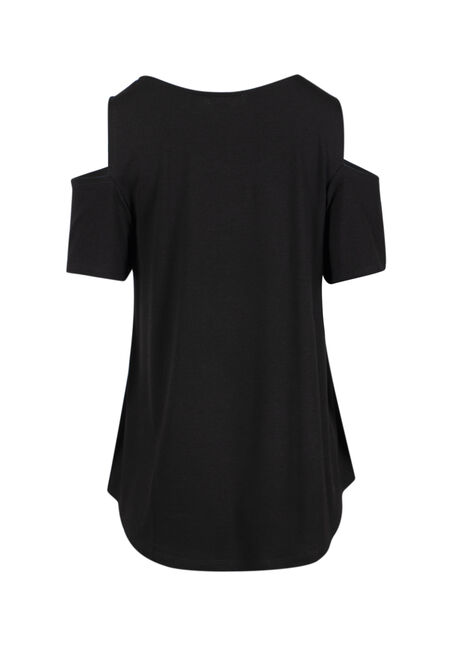 Women's  Current Mood Cold Shoulder Tee, BLACK, hi-res