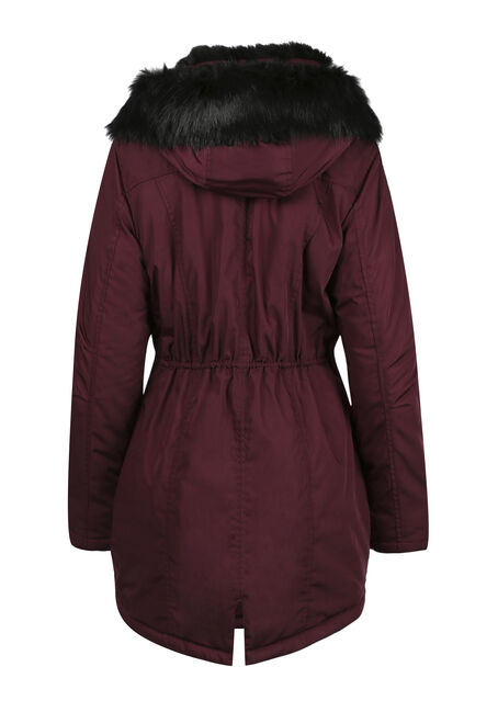 Ladies' Fur Trim Parka, BURGUNDY, hi-res