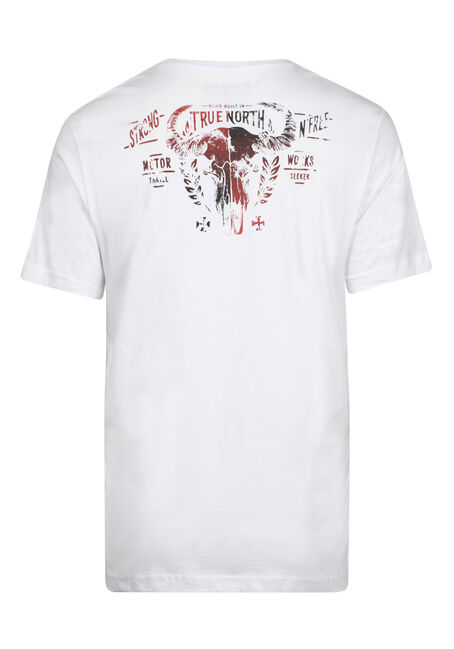 Men's True North Skull Tee, WHITE, hi-res