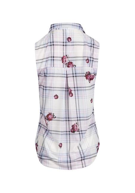 Ladies' Floral Plaid Knit Shirt, WHITE, hi-res