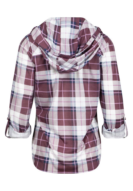 Women's Hooded Knit Plaid Shirt, ORCHID, hi-res