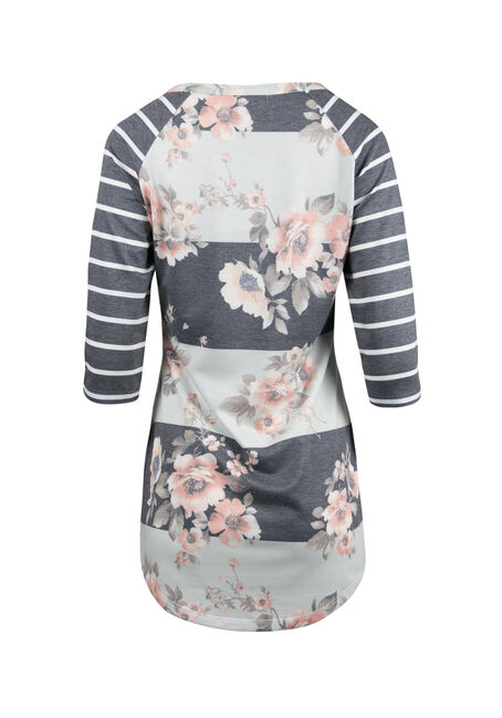 Ladies' Floral Stripe Baseball Top, ECLIPSE, hi-res