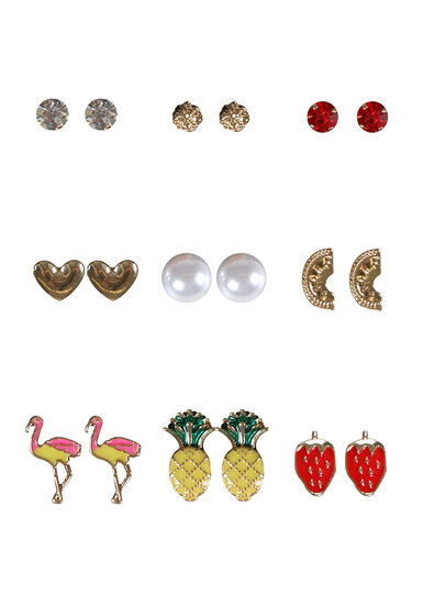 Women's 9 Pair Earring Set, MULTI, hi-res