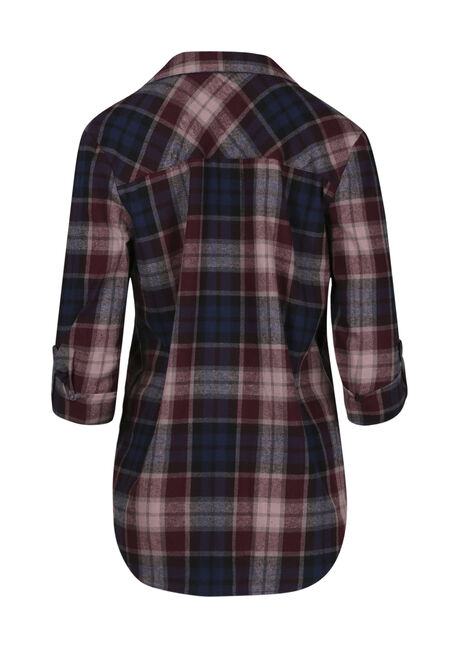 Ladies' Flannel Boyfriend Shirt, DK PURPLE, hi-res