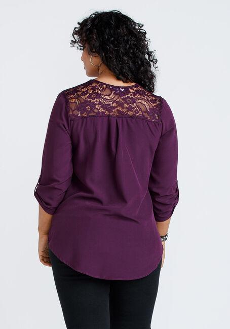 Women's Lace Insert Blouse, DARK PLUM, hi-res
