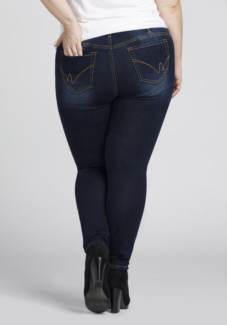 Ladies' Plus Size Skinny Jeans, DARK WASH, hi-res