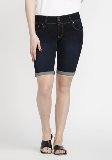 Women's Bermuda Jean Short, DARK WASH, hi-res