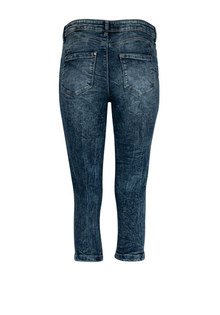 Ladies' Acid Wash Capri, MEDIUM WASH, hi-res