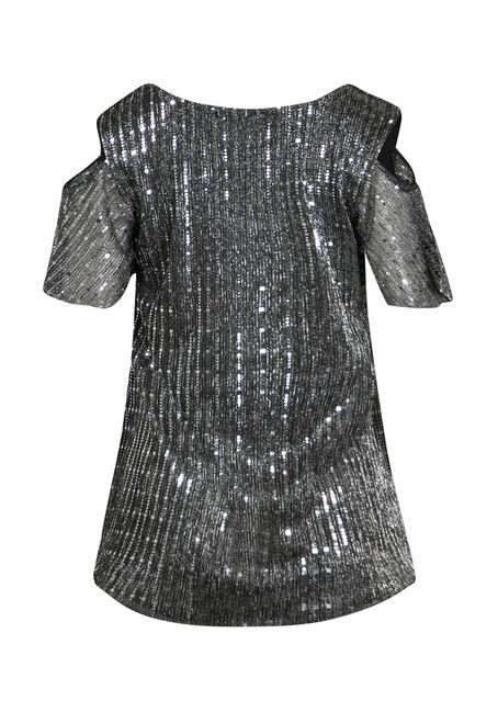 Women's Silver Shimmer Cold Shoulder Top, SILVER, hi-res