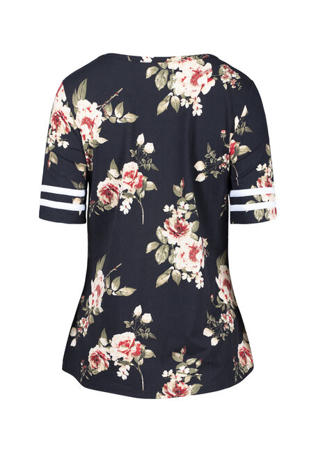 Women's Floral Football Tee, BLACK FLRL, hi-res