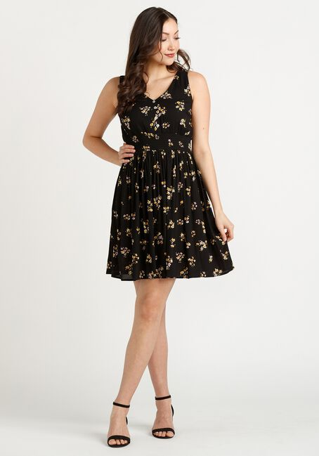 Women's Babydoll Smocked Dress, BLACK, hi-res