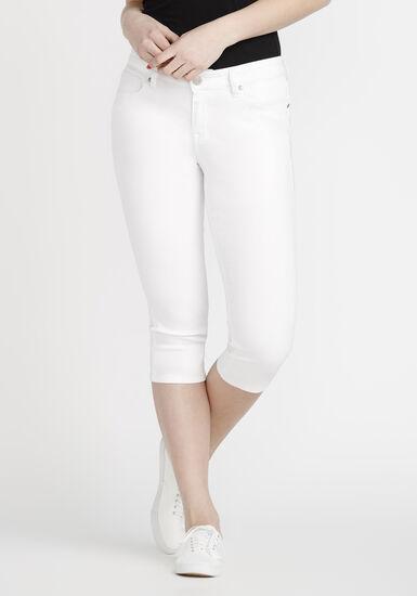 Women's White Skinny Capri, WHITE, hi-res