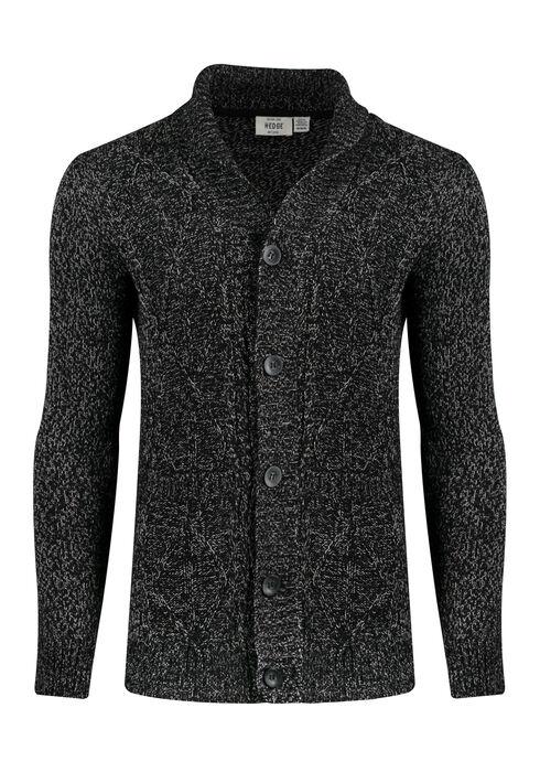 Men's Shawl Collar Cardigan, BLACK, hi-res
