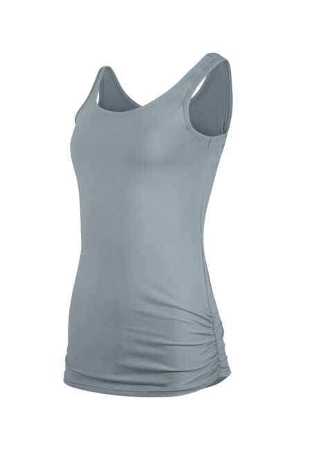 Women's Super Soft Ruched Side Tank, SHADOW BLUE, hi-res