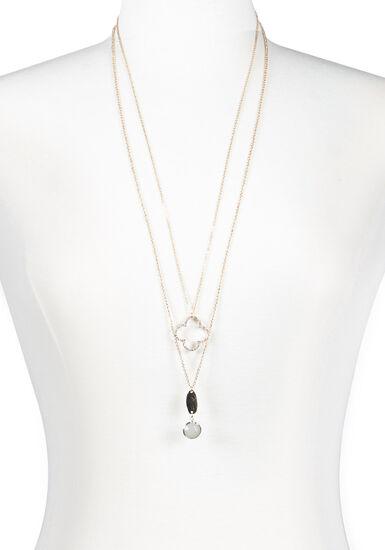 Women's Double Necklace Set, GOLD, hi-res