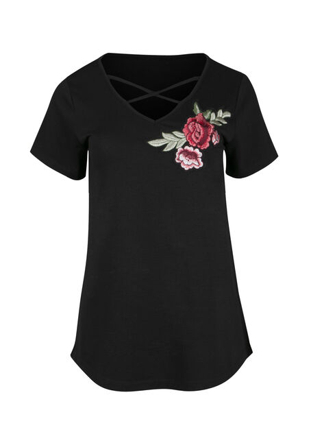Ladies' Cage Neck Floral Embroidered Tee