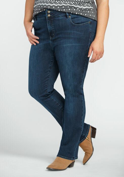 Ladies' Plus Size  Baby Boot Jeans, DARK VINTAGE WASH, hi-res