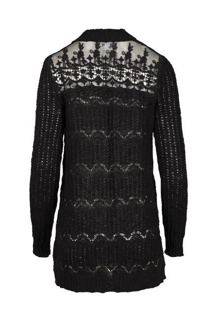 Women's Lace Insert Pointelle Cardigan, BLACK, hi-res