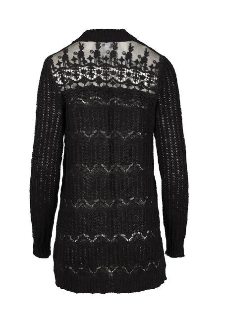 Women's Lace Insert Pointelle Cardigan, BLACK, hi-res