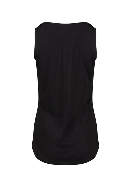 Women's Relaxed Fit V-Neck Tank, BLACK, hi-res