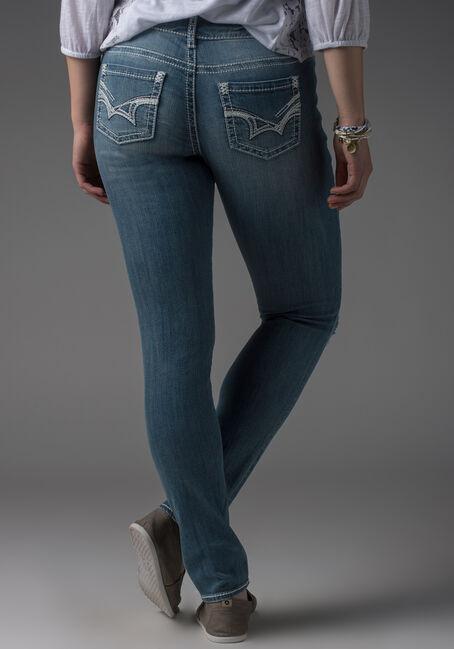 Ladies' Skinny Destroyed Jeans, LIGHT VINTAGE WASH, hi-res