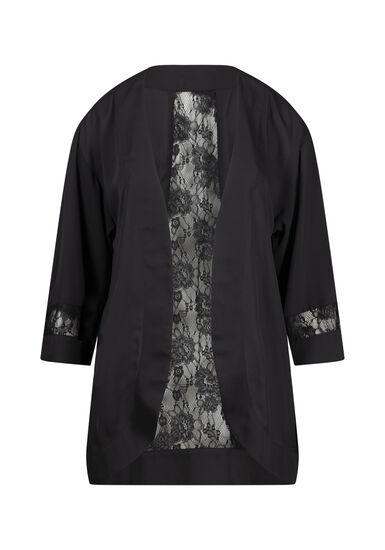 Women's Floral Lace Kimono, BLACK, hi-res