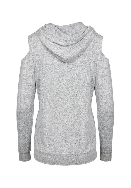 Women's Cold Shoulder Hooded Top, GREY, hi-res
