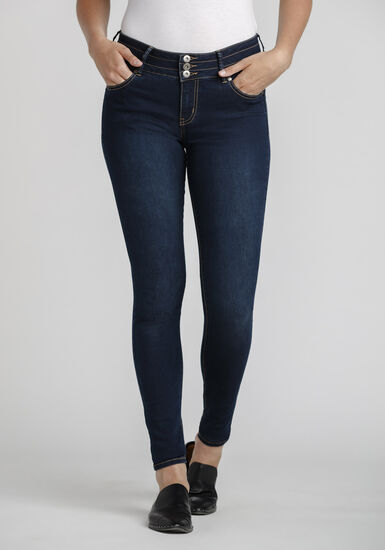 Women's 3-Button Skinny Jeans, DARK WASH, hi-res